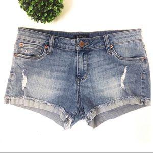 STS Blue distressed denim jean shorts frayed hem